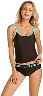 BEESCLOVER Women's Two Pieces Tankini Set Beachwear Light Padded Wirefree Swimsuit Swimwear Brown02 46