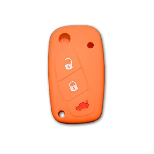 1neiSmartech Cover Coloreada Protector De Silicona Suave Para Carcasa Llave 3Teclas Plegable Para Coche Para Fiat Grande Punto, Panda, Lápiz Capacitivo, Bravo, Ducado, Ulysse Arancione