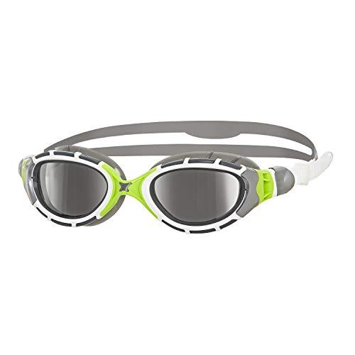 Zoggs Schwimmbrille Predator Flex Titanium, Grey/Green/Mirror, onesize, 335848