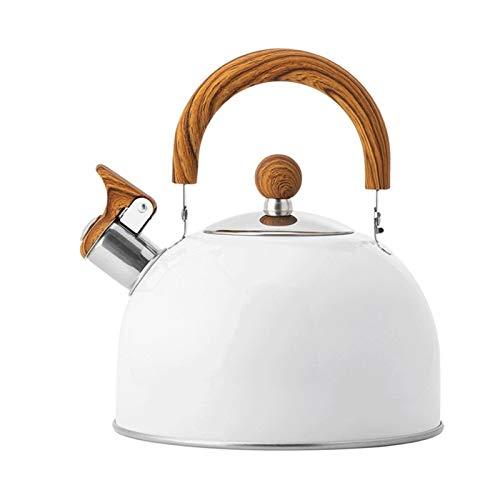 Tetera de acero inoxidable Tetera de hervidor de silbidos de 2.5L, calefaccion rapidamente, cocina de induccion de la cocina de gas, hasta el cafe y el te, el asa anti-caliente del grano de madera.