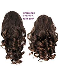 PRETTYSHOP 2 IN 1 30cm Und 40cm Haarteil Zopf Pferdeschwanz Haarverlängerung Voluminös Gewellt Braun Mix H21-2