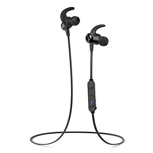 Cuffie Bluetooth Magnetiche 4.1 TaoTronics, Auricolari Impermeabili IPX6 Stereo Wireless Ultraleggere (8 Ore di Riproduzione, Magneti Integrati, Cancellazione del Rumore...
