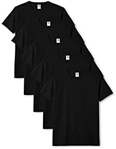 Fruit of the Loom Mens Original 5 Pack T-Shirt Camiseta, Negro (Black), Large (Pack de 5) para Hombre