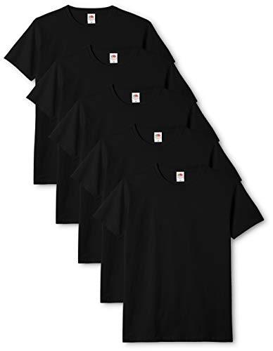 Fruit of the Loom Mens Original 5 Pack T-Shirt Camiseta, Negro (Black), X-Large (Pack de 5) para Hombre