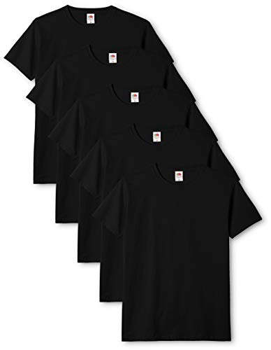 Fruit of the Loom Original T., T-Shirt Uomo, Nero (Black 36), Medium(Pacco da 5)