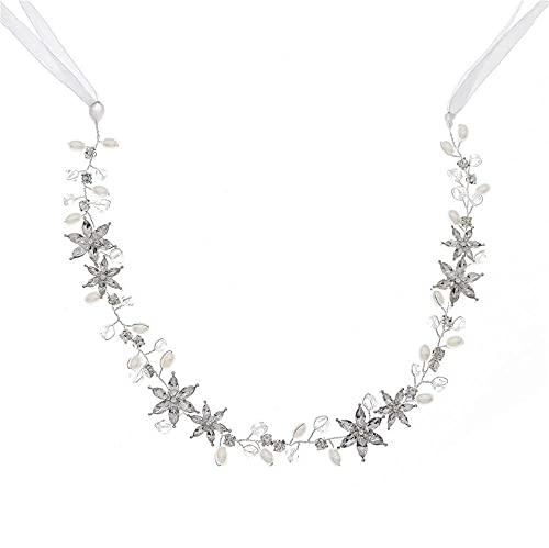 Hinleise Diadema de novia con diseño de estrella, cadena suave, corte de...