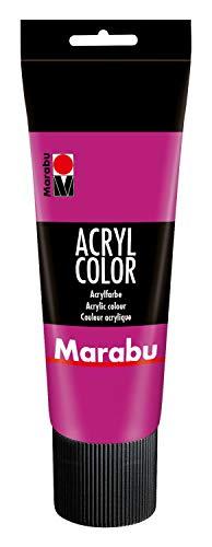 Marabu 12010025014 - Acryl Color magenta 225 ml, cremige Acrylfarbe auf Wasserbasis, schnell trocknend, lichtecht, wasserfest, zum Auftragen mit Pinsel und Schwamm auf Leinwand, Papier und Holz