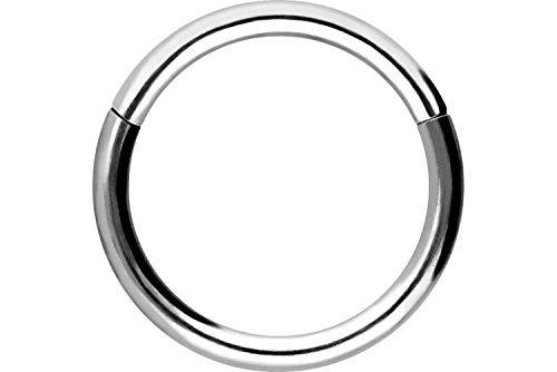 Piercingline - Piercing ad anello in acciaio chirurgico con chiusura a scatto, per setto nasale, helix, trago, colore e dimensioni a scelta, colore: argento, cod. SLX280-SI-0,8-6
