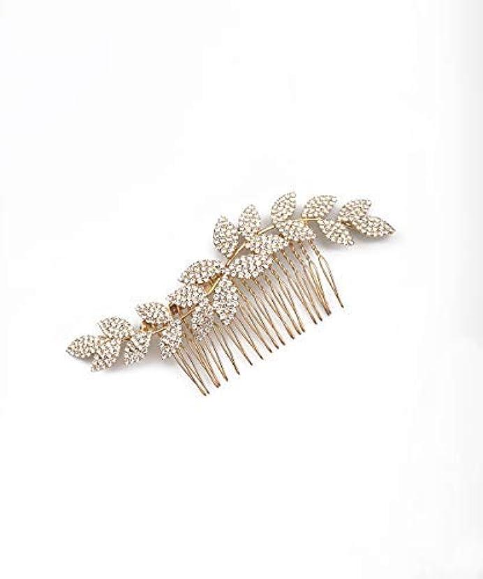 王朝一晩シビックDeniferymakeup Crystal Bridal Headpiece Bridal Hair Accessories Wedding Hair Piece Wedding Headpiece Bridal Jewelry Crystal Jewelry with Combs Bridal Head Piece Wedding Hair Accessories (Gold) [並行輸入品]