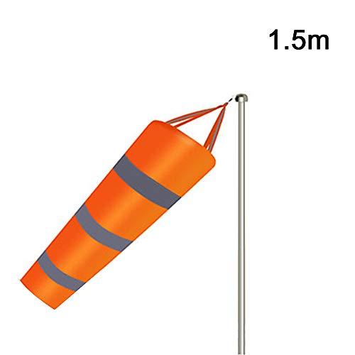 SUNJULY Windmessfahne, Windsack mit Reflektierendem Gürtel - Wetterfeste Nylonsocke für die Windmessung im Freien, 1.5M
