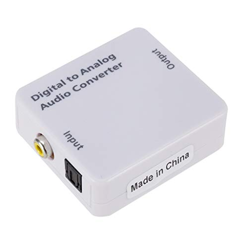 Optischer koaxialer Toslink Digital-Analog-Audio-Wandler-Adapter Cinch L/R 3,5 mm (60 x 55 x 20mm,Weiß)