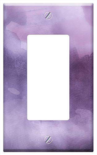 Switch Plate Single Rocker/GFCI - Watercolors Lilac Violet Background Purple Art
