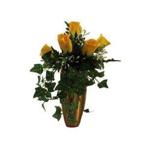 Yellow Rose w/ Baby'S Breath Ivy for Crypt / Mausoleum Bouquet for Grave-site Presentation in Remembrance of Loved Ones NO VASE