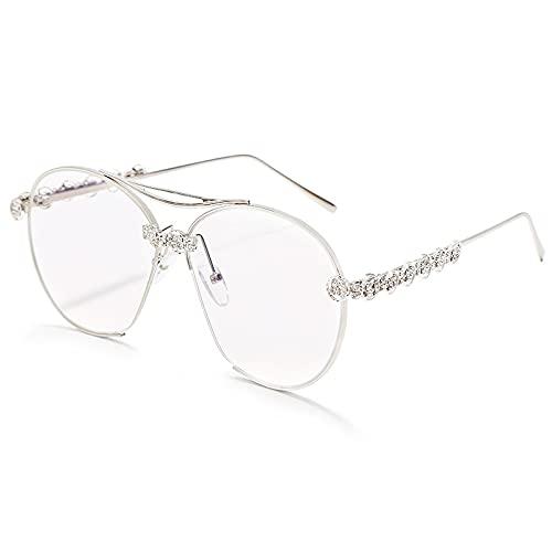 HAOMAO Gafas de Sol de piloto de Diamantes Redondas conDegradado deGran tamaño para Mujeres y Hombres,GafasVintageUv400, Gafas, Sombras Plateadas, Transparentes