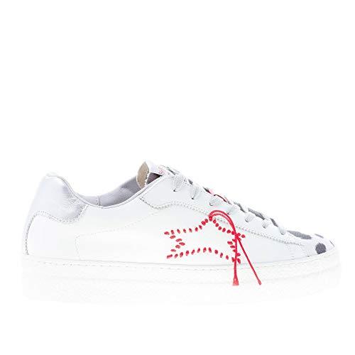 Ishikawa Donna Sneaker Tall in Pelle Bianco più Animalier e Cucitura Rossa Color Bianco Size 38