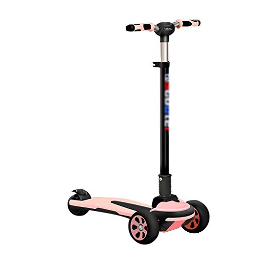 LICHUAN Scooter Kids Scooter Scooter con altura ajustable para niños, inclinarse para dirigir, iluminar 3 ruedas, diseño de absorción de golpes, scooter para niños de 3 a 10 años (color rosa