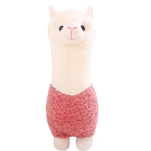 HUOQILIN Alpaka-Puppe Nette Plüschspielzeugpuppe Kissen Schlamm Pferd Schlafen Geschenk Mädchen Bett Puppe Geburtstag (Color : Pink, Size : 45cm)