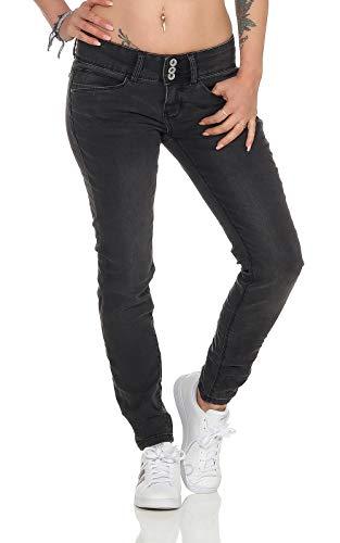 Sublevel Damen Jeans Hose LSL-385 sichtbare Knopfleiste, schmales Bein Black Denim M
