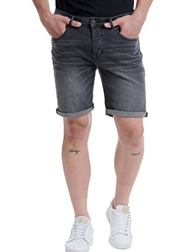 FUNKY BUDDHA Men's Denim Shorts in Used Look Black in Size 32W