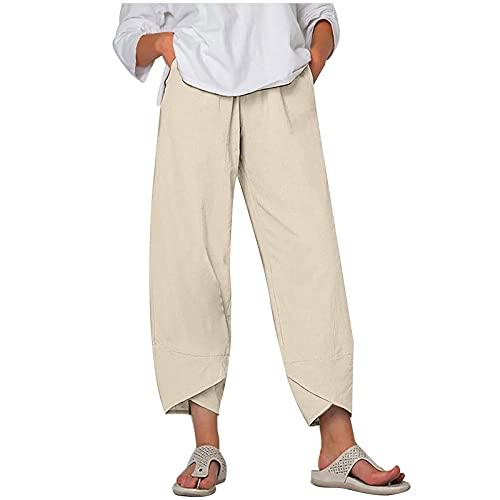 Keepwin Women's Trousers, Leinenhose Damen Sommer Große Größen Leinen Hose Druck Freizeithose mit Taschen Frauen Hosen Jogginghose Elasticated Waistband, High Waist, Wide Leg 0518 (Beige, L)