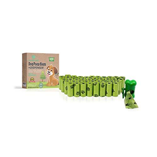 SANTER LABS 600 Bolsas Biodegradables Excrementos Residuos Perros Mascotas, 40 Rollos con dispensador extrafuerte a Prueba de Fugas Respetuoso con el Medio Ambiente con aditivos EPI 22 x 32 cm (40)