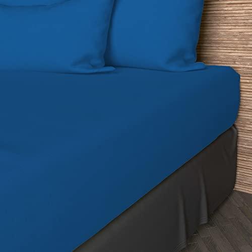 Soleil d'ocre Lenzuolo con Angoli 160 x 200 cm in Cotone Tinta Unita Blu Marino