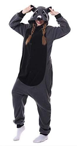 Dorliki Pijama para Adultos Cosplay Disfraz de Animal para Halloween Navidad Ropa de Dormir Mapache M