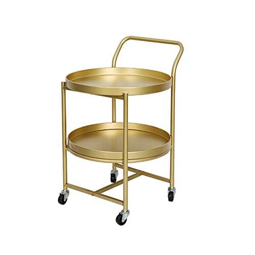 LiRuiPengBJ Tavolino Tavolino in Metallo Dorato a 2 Livelli Carrello per Bevande con Ruote Carrello da Cucina Vassoio Rotondo Tavolino Portaoggetti (15,7 X 24,8 Pollici) Tavolo d'angolo