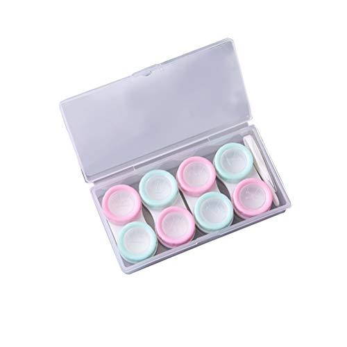 4 pares de capas de lentes de contato com contêiner de lentes de contato da SUPVOX com pinças e varas de sucção para viagens em casa