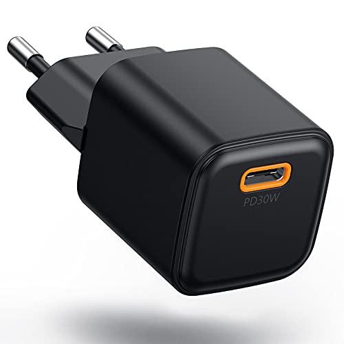 Cargador USB C de 30 W con GaN Tech, Mini Cargador PD3.0 Carga Rápida Adaptador de Cargador PD Fuente de Alimentación USB-C Para iPhone 13/12/12 Pro/12 Mini/11Pro/X, MacBook Air, iPad Pro
