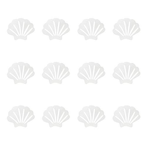 lasenersm 12 Pieces Non-Slip Bathtub Stickers Non Slip Shower Stickers Strips Bathroom Tubs Mat Non Slip Sea Shell Shaped Safety Showers Treads Strips for Bathroom Floors Pools Stairs Ladders, White