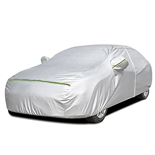 Tempcore 5 Layers Car Cover Waterproof All Weather for Automobiles, Outdoor Full Cover Rain Sun UV Protection with Zipper Cotton, Universal Fit for Sedan (180'-194')