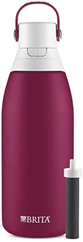 Brita Stainless Steel Water Filter Bottle, Ruby, 32 Ounce, 1 Count