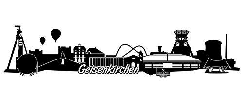Samunshi® Gelsenkirchen Skyline Wandtattoo Sticker Aufkleber Wandaufkleber City Gedruckt Gelsenkirchen 120x27cm schwarz