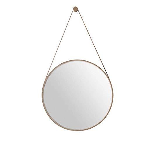 NYDZDM decoratieve muur opknoping spiegel met ijzeren riem en haak metalen rand ronde ijdelheid cosmetische spiegels voor woonkamer, slaapkamer of boerderij huis - goud, Φ70cm(27.6′′′)