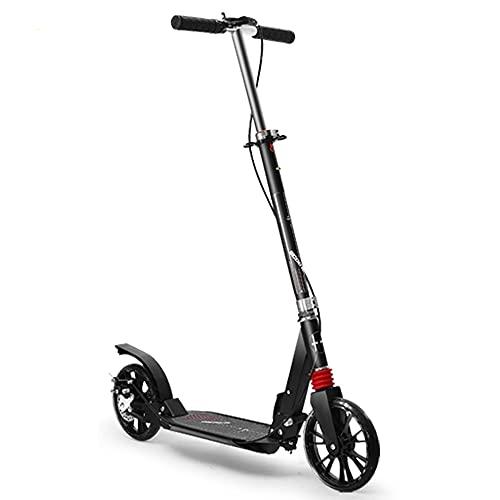 WHOJS Patinete Altura Ajustable Scooter Adulto Frenos de Disco Scooter de Cercanías Plegable Rueda Grande de la PU Capacidad de Carga 220 lbs Construcción Ligera(Color:Negro)