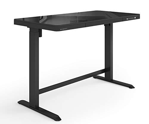 ESMART EMX-121BB 120 x 60 cm Vidrio Negro Escritorio ergonómico Regulable eléctricamente en Altura de Forma Continua 72-121cm con cajón 3xMemoria 2xPuertos USB Arranque/Parada Suave Montaje rápido