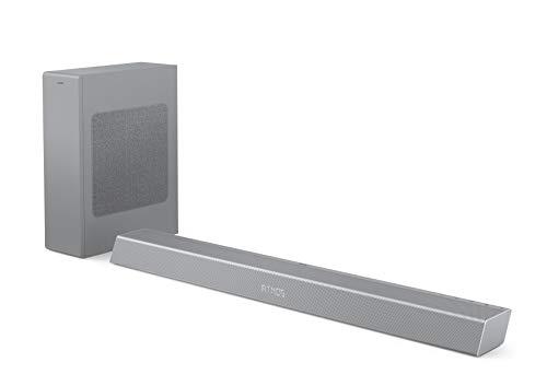 Philips B8505/10 Soundbar mit Subwoofer kabellos (2.1 Kanäle, Bluetooth, 240 W, Dolby Atmos, HDMI eARC, DTS Play-Fi kompatibel, Verbindung Sprachassistenten, Flaches Profil) Silber - 2020/2021 Modell
