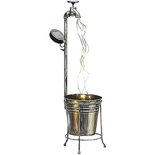 KunmniZ Arte de jardín al Aire Libre Decoración de luz Grifo de Agua con Solar Jardinera Regadera Hada LED Hilos Lámpara Arte de la Ducha Luces de Estrella de jardín LED al Aire Libre de &