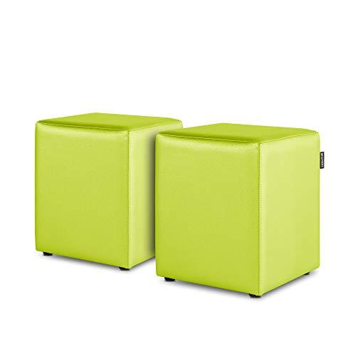 HAPPERS Pack 2 Puff Cubo Polipiel Indoor Verde