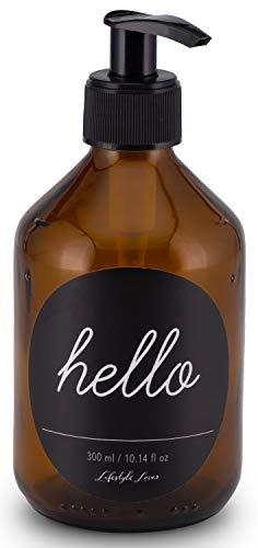 Lifestyle Lover Seifenspender 300ml aus Braunglas, Bernsteinfarben für Seife Spüli Shampoo Lotionen Braun Glas, Hello