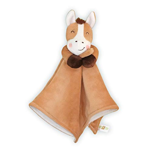 Baby Aves Horse Lovey Baby Security Blanket - Pony Stuffed Plush Animal Blankie 13x13 inches (Brown)