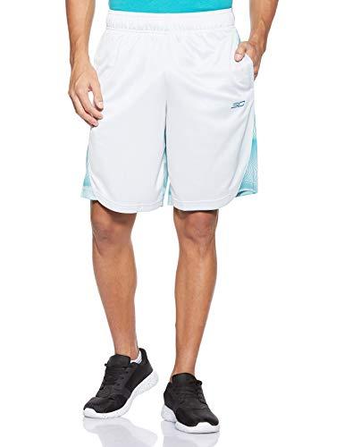 Under Armour Short Corto Elevado Curry para Hombre de 25,4 cm, Hombre, Pantalones Cortos, 1342980, Gris halo (014)/Verde Azulado, 3XL