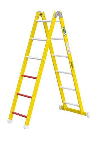 Escalera aislante de un tramo plegable. Permite su uso como escalera de un tramo o escalera de tijera, fabricada en fibra de vidrio. Según norma UNE-EN 131 (12 peldaños)