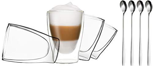 DUOS 4X 310ml doppelwandige Gläser + 4 Löffel - Set Thermogläser mit Schwebe-Effekt, auch für Tee, Eistee, Säfte, Wasser, Cola, Cocktails geeignet, by Feelino