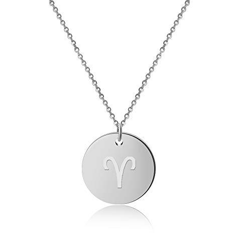 GD Good.Designs  Collar de Damas con Signo del Zodiaco (horóscopo) Joyas con Signo del Zodiaco para Mujeres Collar de Damas con Signo del Zodiaco (horóscopo) Joyas con Signo del (Aries - Plata)