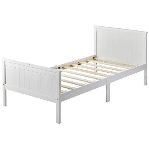 SUSIELADY Marco de cama individual de madera con cabecero y estribo, cama de madera de pino para dormitorio de niños, color blanco marfil