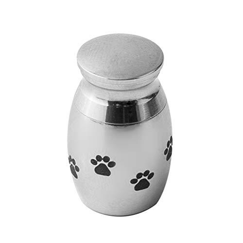 LIOOBO Haustier Asche Urne Hund Pfote Edelstahl Begräbnis Urne Asche Anhänger für Tierliebhaber (Silber)