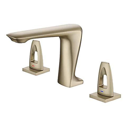 3 Orificios Grifo Lavabo Baño Latón Agua Fría y Caliente Doble Interruptor Baño Lavabo Grifo-Oro Cepillado