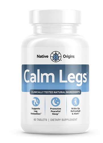 Calm Legs Nighttime Leg Relaxation Support - Natural Sleep Aid Relief for Restless Rested agitated Legs with Iron, Magnesium, and Valerian Root. Restless Agitated Leg Support. (60 Tablets)